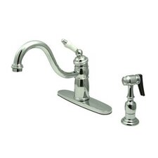 Heritage Singe Handle Centerset Kitchen Faucet with Porcelain Lever Handles