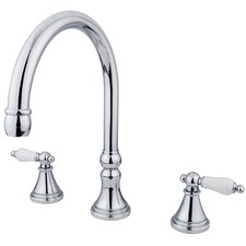 <strong>Elements of Design</strong> Madison Double Handle Deck Mount Roman Tub Faucet Trim Porcelain Lever Handle