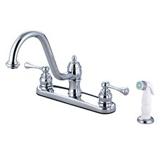 <strong>Elements of Design</strong> Vintage Double Handle Centerset Kitchen Faucet with Buckingham Lever Handles