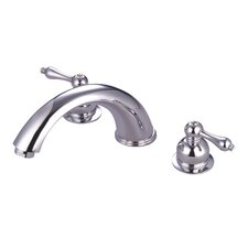 <strong>Elements of Design</strong> Double Handle Deck Mount Roman Tub Faucet Trim Metal Lever Handle