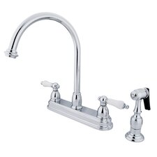 <strong>Elements of Design</strong> Restoration Deck Mount Double Handle Centerset Kitchen Faucet with Porcelain Lever Handles and Side Spray