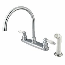 Victorian Double Handle Centerset Goose Neck Kitchen Faucet with Porcelain Lever Handles and White Side Spray