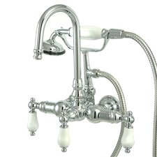 <strong>Elements of Design</strong> Vintage Three Handle Wall Mount Clawfoot Tub Faucet with Handshower