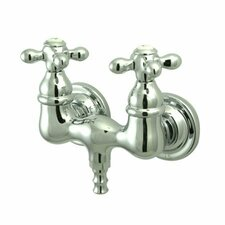<strong>Elements of Design</strong> Vintage Double Handle Wall Mount Clawfoot Tub Faucet Trim Metal Cross Handle