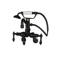 Hot Springs Three Handle Wall Mount Clawfoot Tub Faucet with Handshower