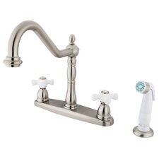 Heritage Double Handle Centerset Kitchen Faucet with Porcelain Cross Handles