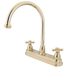 Double Handle Centerset Kitchen Faucet with Metal Cross Handles