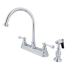 <strong>Elements of Design</strong> Vintage Deck Mount Double Handle Centerset Kitchen Faucet with Buckingham Lever Handles