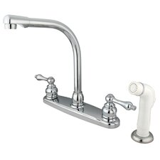 Victorian Double Handle Centerset High Arch Kitchen Faucet with Metal Lever Handles and White Side Spray