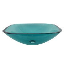 Square Temper Glass Vessel Bathroom Sink