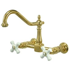 Heritage Two Handle Wall Mount Bridge Kitchen Faucet with Porcelain Cross Handles