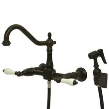 Heritage Double Handle Wall Mount Bridge Kitchen Faucet with Porcelain Lever Handles and Side Spray