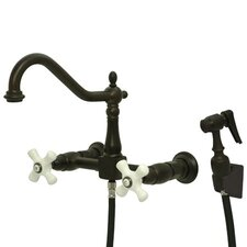 Heritage Double Handle Wall Mount Bridge Kitchen Faucet with Porcelain Cross Handles and Side Spray