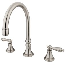 Madison Double Handle Deck Mount Roman Tub Faucet Trim and Metal Lever Handle