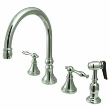 "<strong>Elements of Design</strong> 12"" Deck Mount Double Handle Widespread Kitchen Faucet with Metal Lever Handle"
