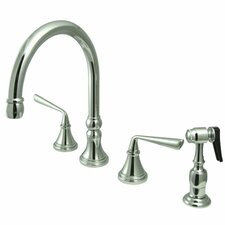 <strong>Elements of Design</strong> Copenhagen Double Handle Widespread Kitchen Faucet with Brass Sprayer