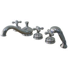 Heritage Double Handle Deck Mount Roman Tub Faucet Trim Metal Cross Handle