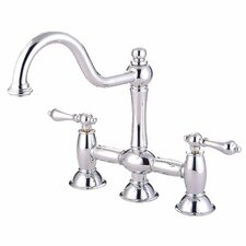 Double Handle Widespread Bridge Faucet with Metal Cross Handles