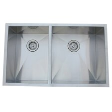 "<strong>Elements of Design</strong> 33"" x 20.06"" Undermount Offset Double Bowl Kitchen Sink"