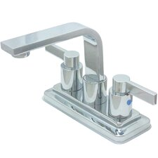 NuvoFusion Euro Double Handle High Rise Spout Bathroom Faucet with Brass Pop-Up