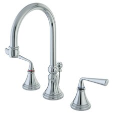 <strong>Elements of Design</strong> Silver Sage Double Handle Widespread Bathroom Faucet with Brass Pop-Up