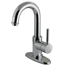 Concord Single Handle Deck Mount Bathroom Faucet with Push Up Pop-Up and Plate