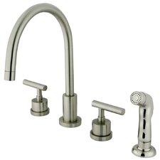 Manhattan Double Handle Single Hole Widespread Kitchen Faucet with Non-Metallic Sprayer