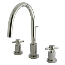 <strong>Elements of Design</strong> Concord Double Handle Single Hole Widespread Bathroom Faucet with Brass Pop-Up