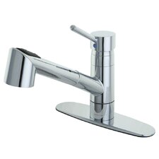 <strong>Elements of Design</strong> Wilshire Single Handle Pull Out Kitchen Faucet with Deck Plate