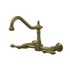 Heritage Two Handle Wall Mount Bridge Kitchen Faucet with Metal Lever Handles