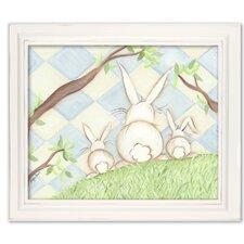 Birds Bunnies Bunny Diamond Giclee Framed Art