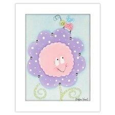 Flowers and Bugs Crazy Daisy Giclee Framed Art