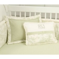 Toile Green Toddler Coverlet and Pillow
