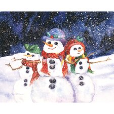 "12"" x 15"" Three Snowmen Design Cutting Board"
