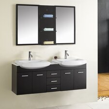 "<strong>Virtu</strong> Ophelia 59.1"" Double Bathroom Vanity Set"