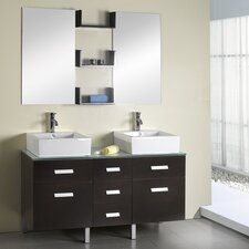 "Maybell 56"" Double Bathroom Vanity Set with Mirror"