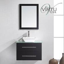 "Ultra Modern 30"" Single Marsala Bathroom Vanity Set with Mirror"