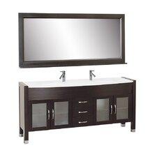 """Ava 71"""" Double Bathroom Vanity Set with Mirror"""
