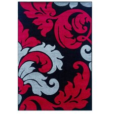 Corfu Floral Black/Red Kids Rug