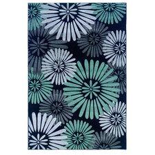 Milan Black & Seaglass Floral Rug