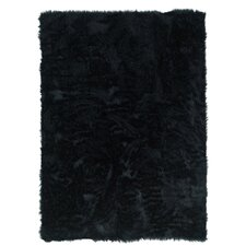 Faux Sheepskin Black Area Rug