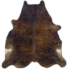 Natural Cowhide Full Skin Dark Brindle Black Area Rug