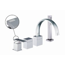 Brick Chic Single Handle Deck Mount Thermostatic Tub Shower Faucet with Hand Shower