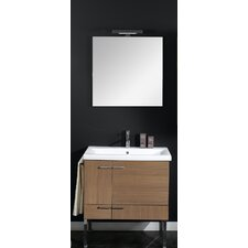 "Simple 30"" Single Wall Mounted Bathroom Vanity Set with Mirror"