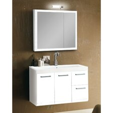 "Linear 38"" Single Wall Mounted Bathroom Vanity Set with Mirror"