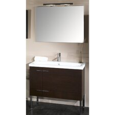 "Simple 39"" Single Wall Mounted Bathroom Vanity Set with Mirror"
