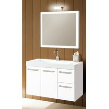 "Linear 38"" Wall Mounted Bathroom Vanity Set with Single Sink"