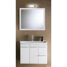 "Linear 30"" Wall Mounted Bathroom Vanity Set with Single Sink"