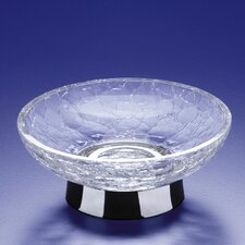 Crackled Glass Soap Dish with Stand