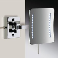 Wall Mounted 3X Magnifying Direct Wired LED Mirror with One Arm and Sensor